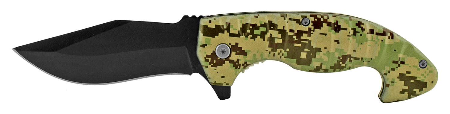 5 in Spring Assisted Hearty Folding Pocket Knife - Digital Camo