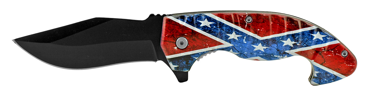 5 in Spring Assisted Hearty Folding Pocket Knife - Confederate Flag