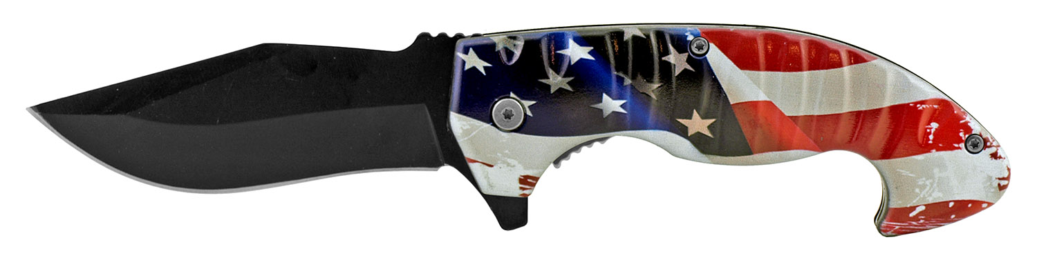 5 in Spring Assisted Hearty Folding Pocket Knife - United States Flag