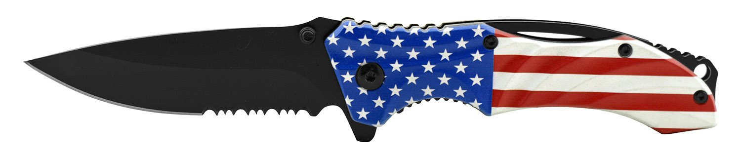 4.5 in Wave Tech Spring Assisted Folding Pocket Knife - United States Flag