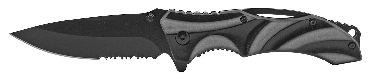 4.5 in Wave Tech Spring Assisted Folding Pocket Knife - Grey