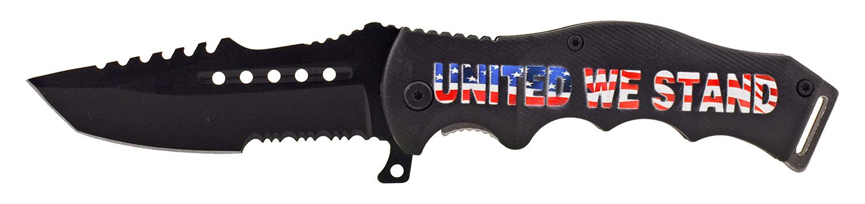 4.75 in United We Stand Folding Pocket Knife - Black