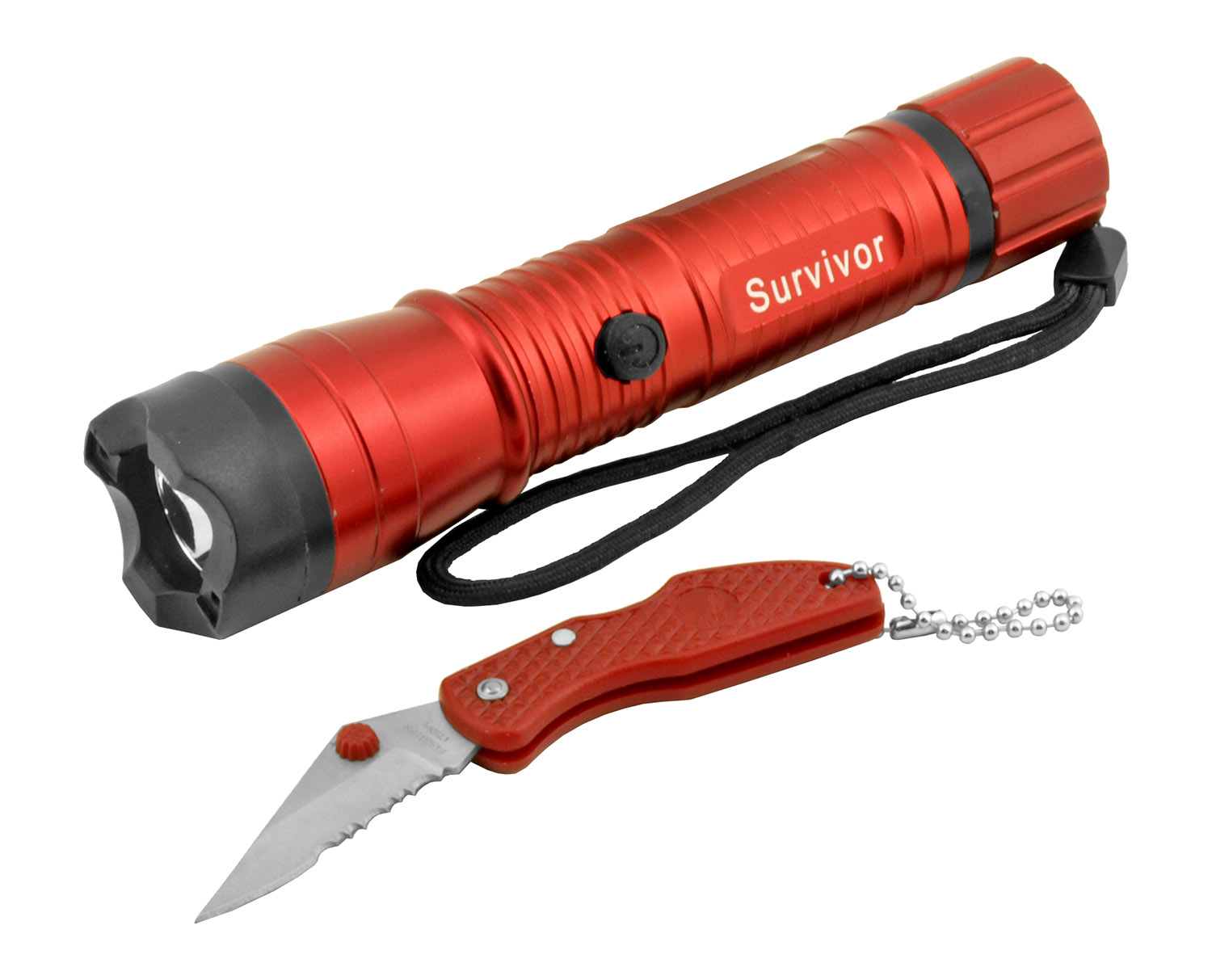 Rechargable Tactical Flashlight with Pocket Knife Combo Pack - Red