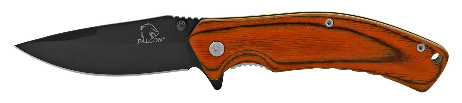 4.5 in Old School Folding Pocket Knife with Wooden Handle - Black