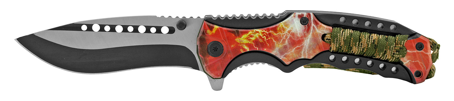 4.5 in Paracord Wrapped Folding Pocket Knife with Belt Clip - Fire Sky