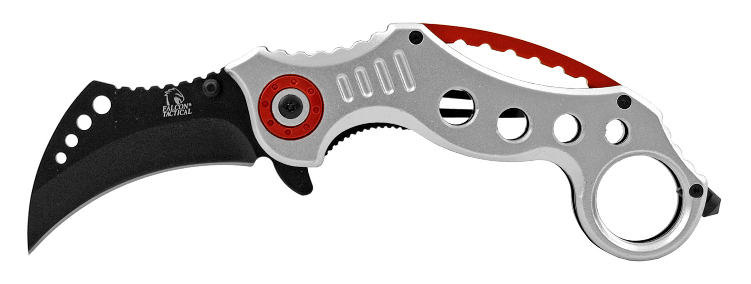 4.75 in Karambit Special Forces Fighting Folding Pocket Knife - Silver and Red