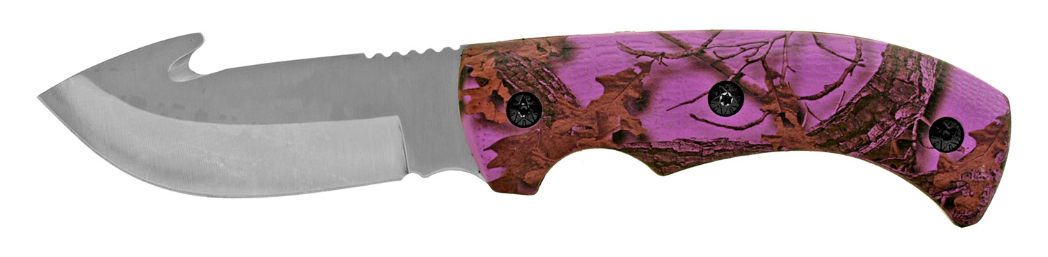 9 in Full Tang Stainless Steel Gut Hook Filet Hunting Knife - Pink Camo