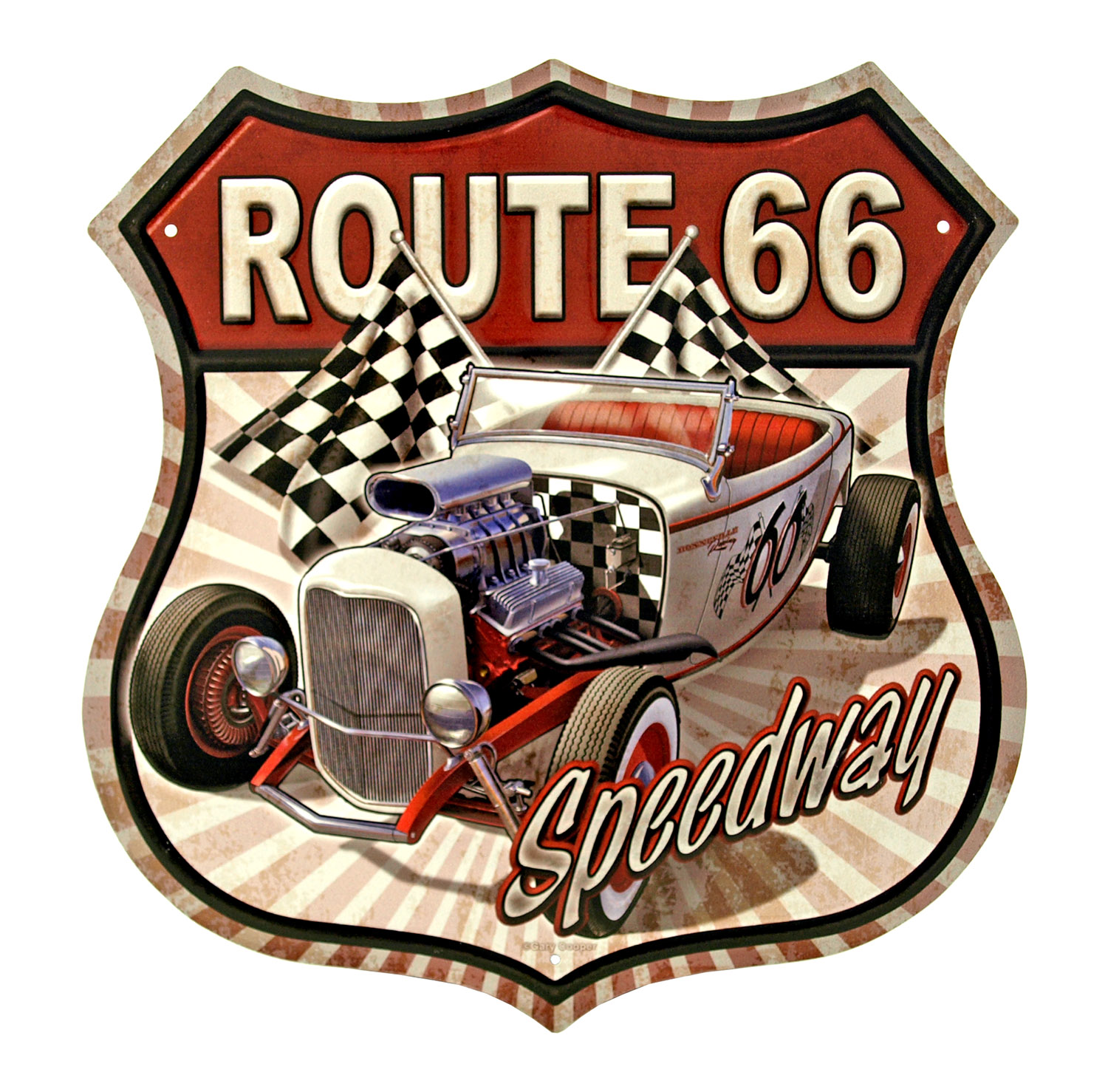 Route 66 Speedway Roadster Highway Shield Metal Tin Sign