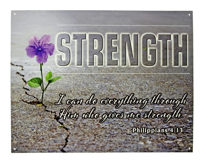 Philippians 4:13 Bible Verse Christian Church Metal Tin Inspiration Sign