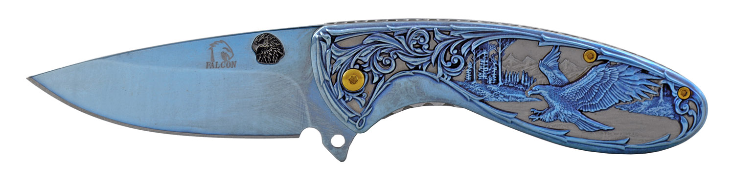4.5 in Full Metal Stainless Steel America The Beautiful Folding Pocket Knife - Blue
