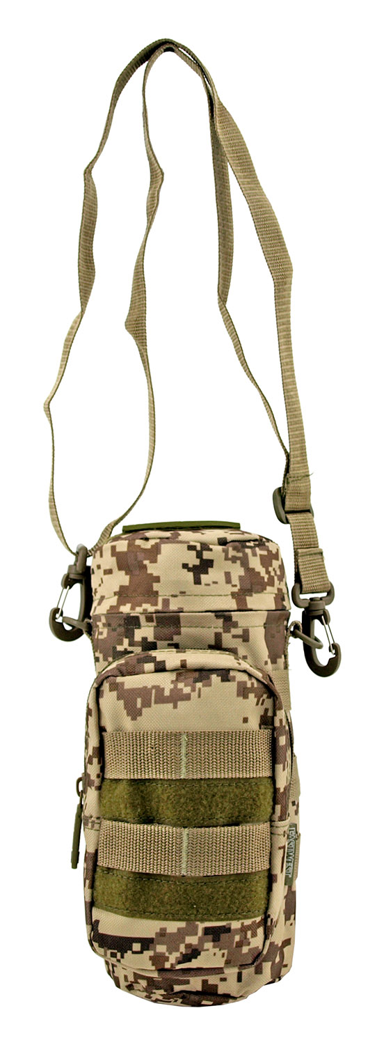 Molle Water Bottle Pack Attachment with Carrying Strap - Desert Tan Digital Camo