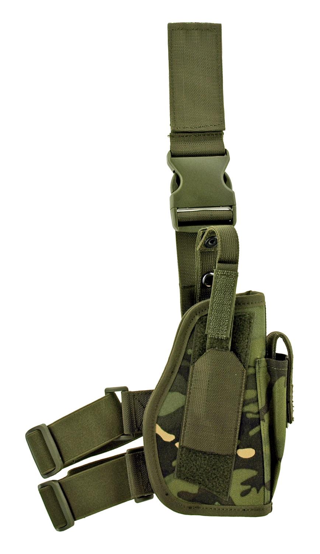 Ranger Elite Tactical Drop Leg Holster with Magazine Clip Storage Pouch - Ranger BDU Camo