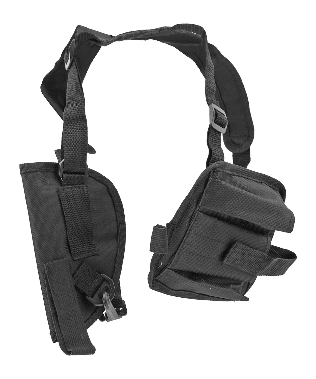 Lancer Tactical Shoulder Gun Holster with Additional Magazine Clip Storage Pouch - Black