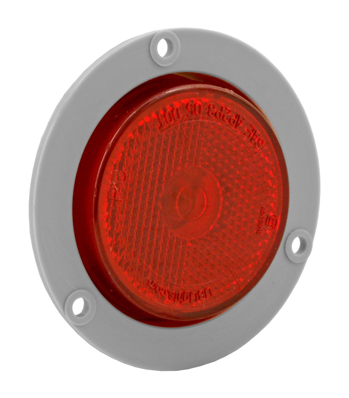 2.5'' Sealed Reflective Flush Mount Marker Lamp Light with Grey Flange - Red