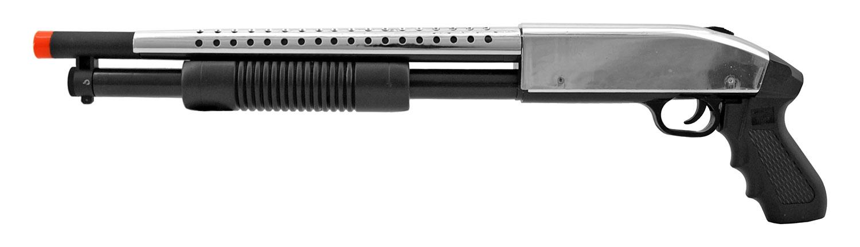 UK Arms P388 Pump Action Chromed Out Gangsta Airsoft Shotgun - Chrome