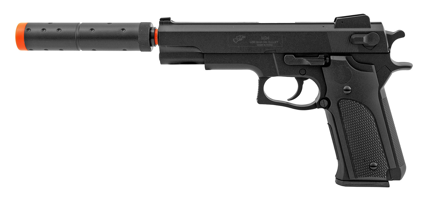 Double Eagle M24 Spring Airsoft Pistol with Threaded Mock Suppressor