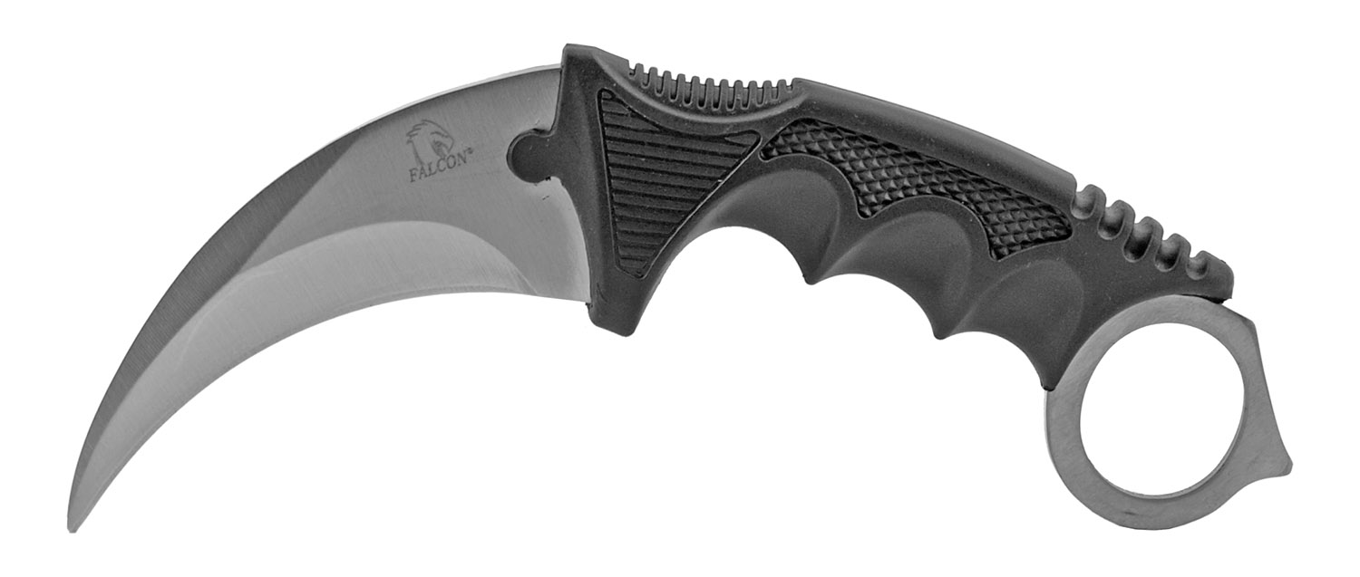 7.5 in Karambit Fighting Claw Knife with Carrying Case - Black and Grey