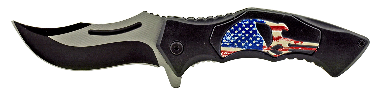 4.75 in Carving Folding Pocket Knife - American Flag Punisher Skull