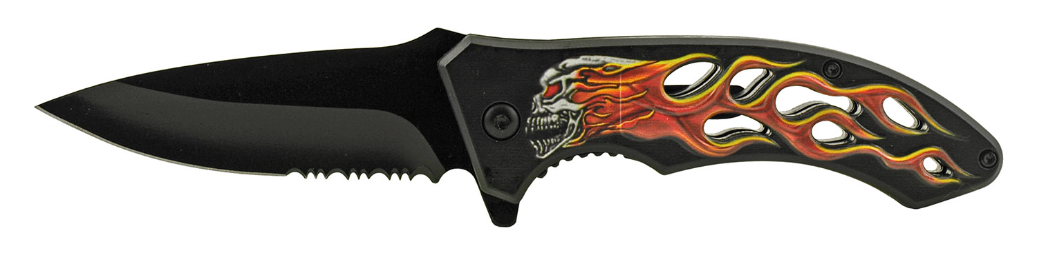 4.63 in Go -Thru Spring Assisted Folding Knife - Ghost Rider Motorcycle Skull Flame