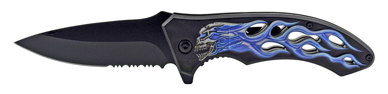 4.63 in Go -Thru Spring Assisted Folding Knife - Blue Cold Motorcycle Skull Flame