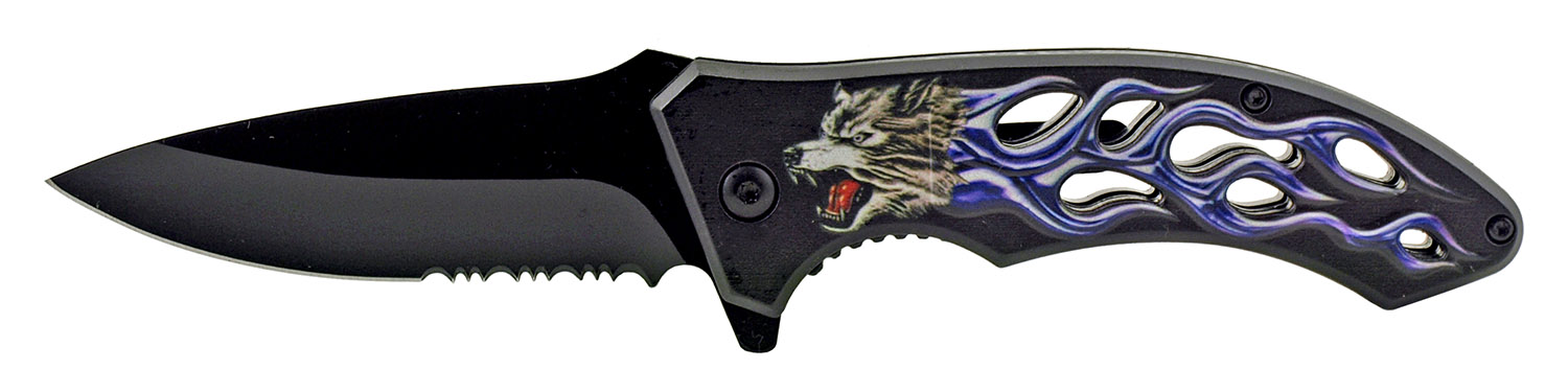 4.63 in Go -Thru Spring Assisted Folding Knife - Blue Cold Wolf Flame