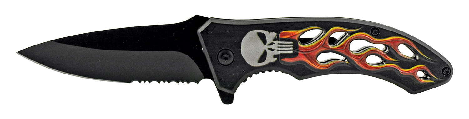 4.63 in Go -Thru Spring Assisted Folding Knife - Punisher Motorcycle Skull Flame