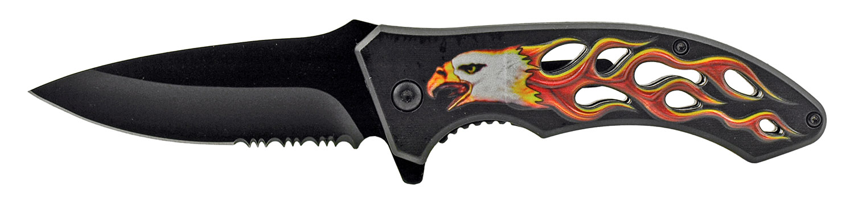 4.63 in Go -Thru Spring Assisted Folding Knife - Eagle Hot Flame