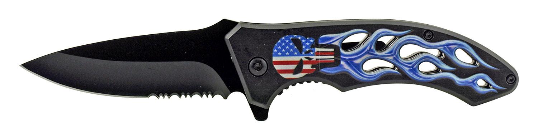 4.63 in Go -Thru Spring Assisted Folding Knife - American Flag Punisher Skull