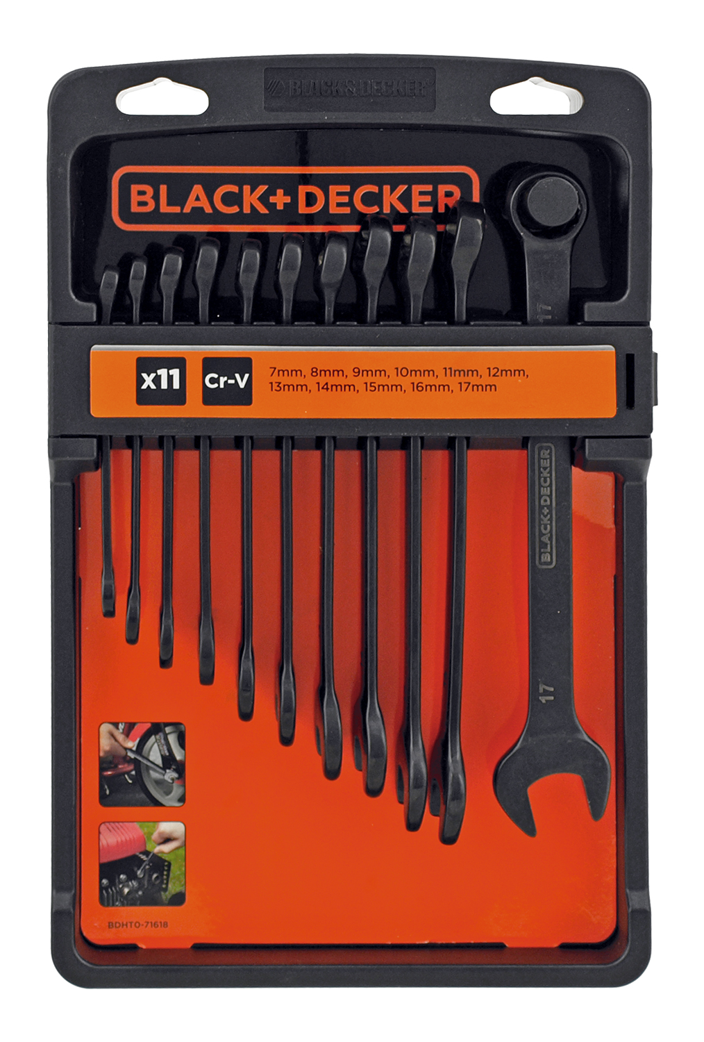 11 - pc. Metric Cr-V Combination Wrench Set - Black and Decker