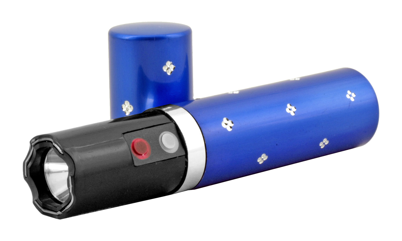 Diamond Concealed Lipstick Stun Gun with Flashlight - Blue