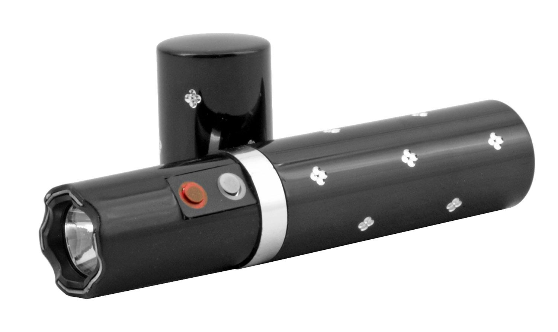 Diamond Concealed Lipstick Stun Gun with Flashlight - Black