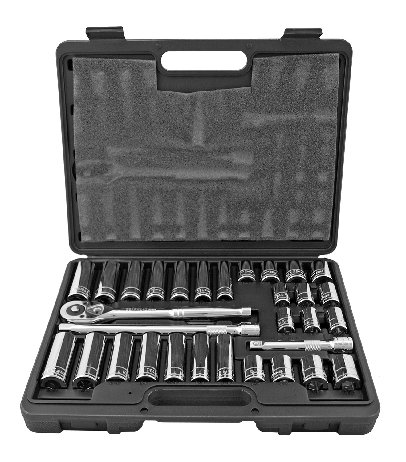 31 pc. SAE and Metric 1/2 in Dr. Socket and Breaker Bar Set - Gearhead