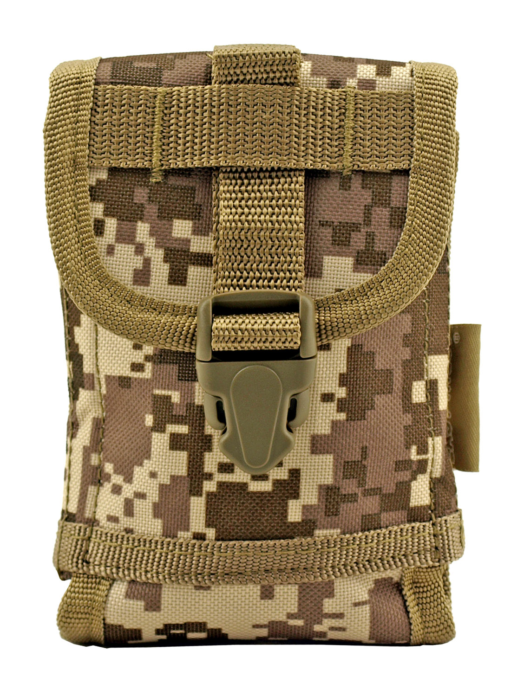 Space Force Tactical MOLLE Cell Phone Tech Pouch Carrier Vest Attachment - Desert Tan Digital Camo