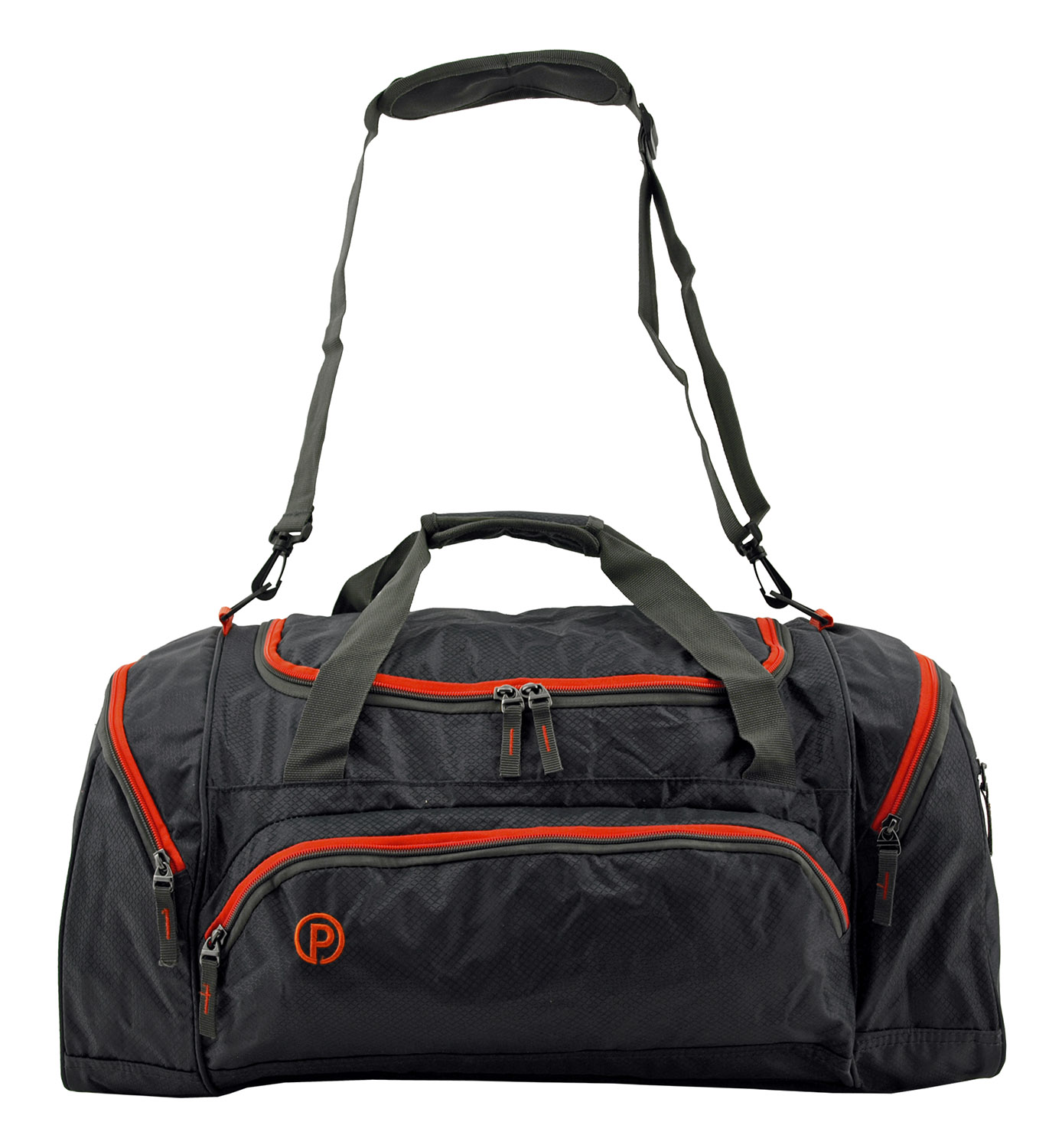 24 in Protégé Carry On Travel Duffel Bag - Grey and Red