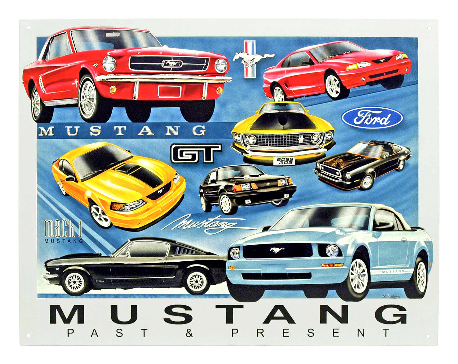 Ford Mustang Past and Present Metal Sign