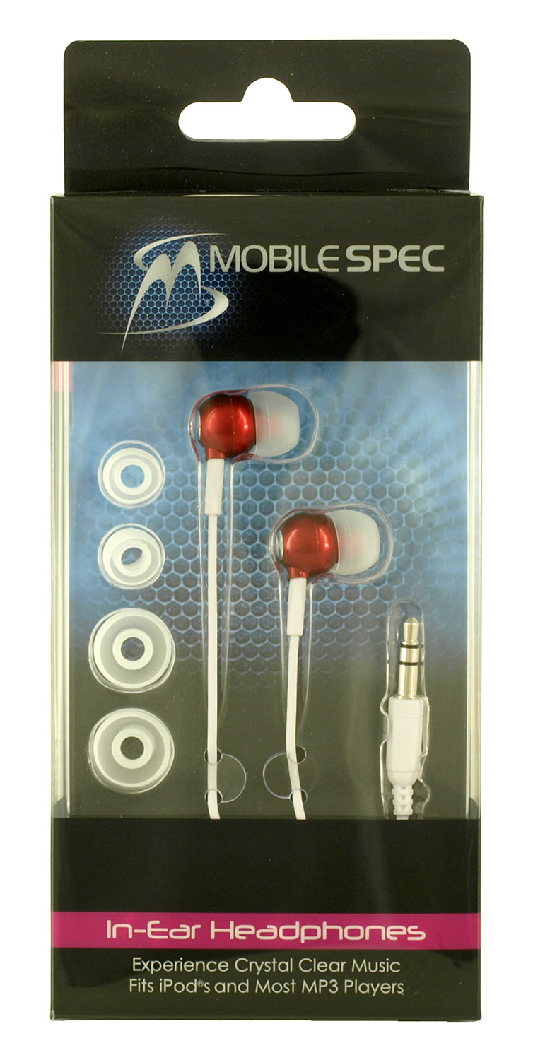MobileSpec In-Ear Headphones - Red