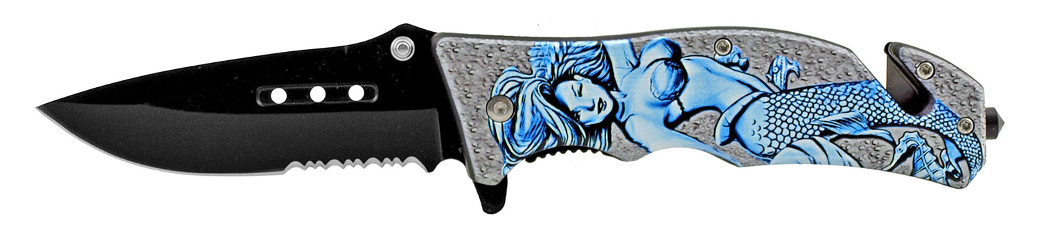 4.75 in Tactical Rescue Folding Pocket Knife with Aquawoman Mermaid Character