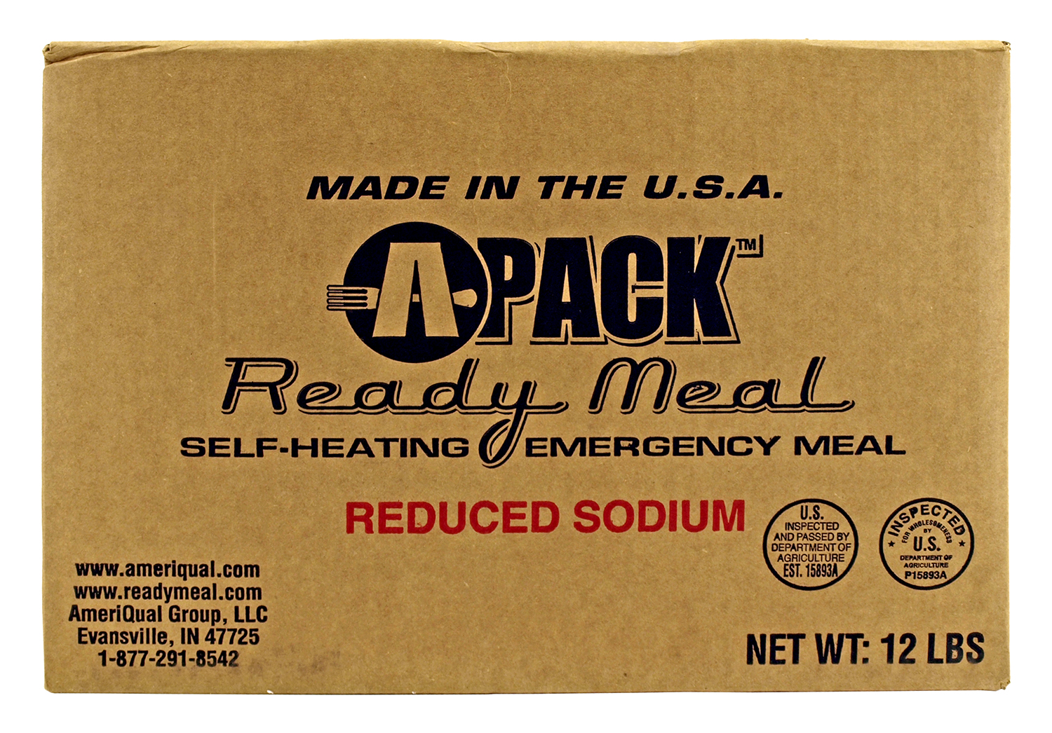 Box of 12 A Pack Meals Ready to Eat - Reduced Sodium MRE