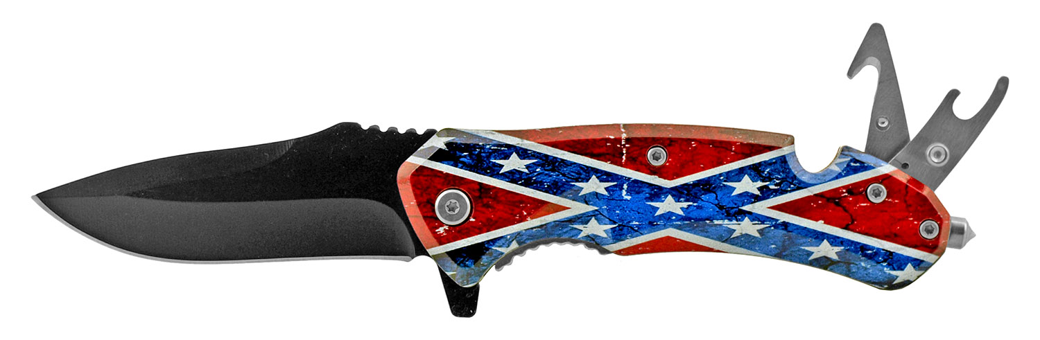 5 in Swiss Army Style Folding Pocket Knife with Bottle Top Opener - Confederate Flag Stars and Bars
