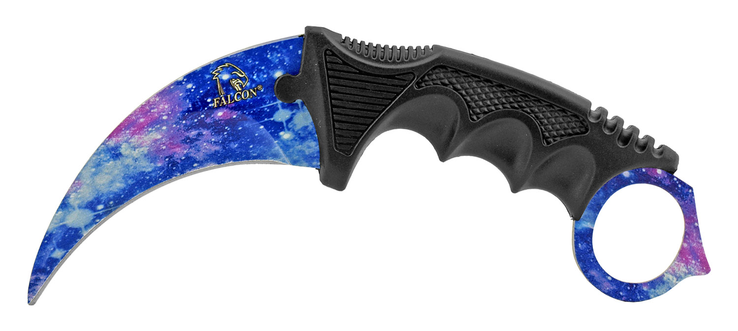 7.5 in Karambit Fighting Claw Knife with Carrying Case - Blue Sky Space