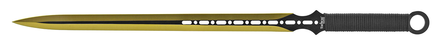 27 in Fantasy Machette Sword with Throwing Knife - Black and Gold