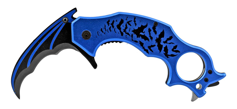 5.5 in Batman Curved Karambit Fighting Folding Pocket Knife - Blue