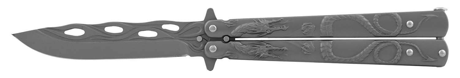5.13 in Stainless Steel Dragon Butterfly Folding Pocket Knife - Grey