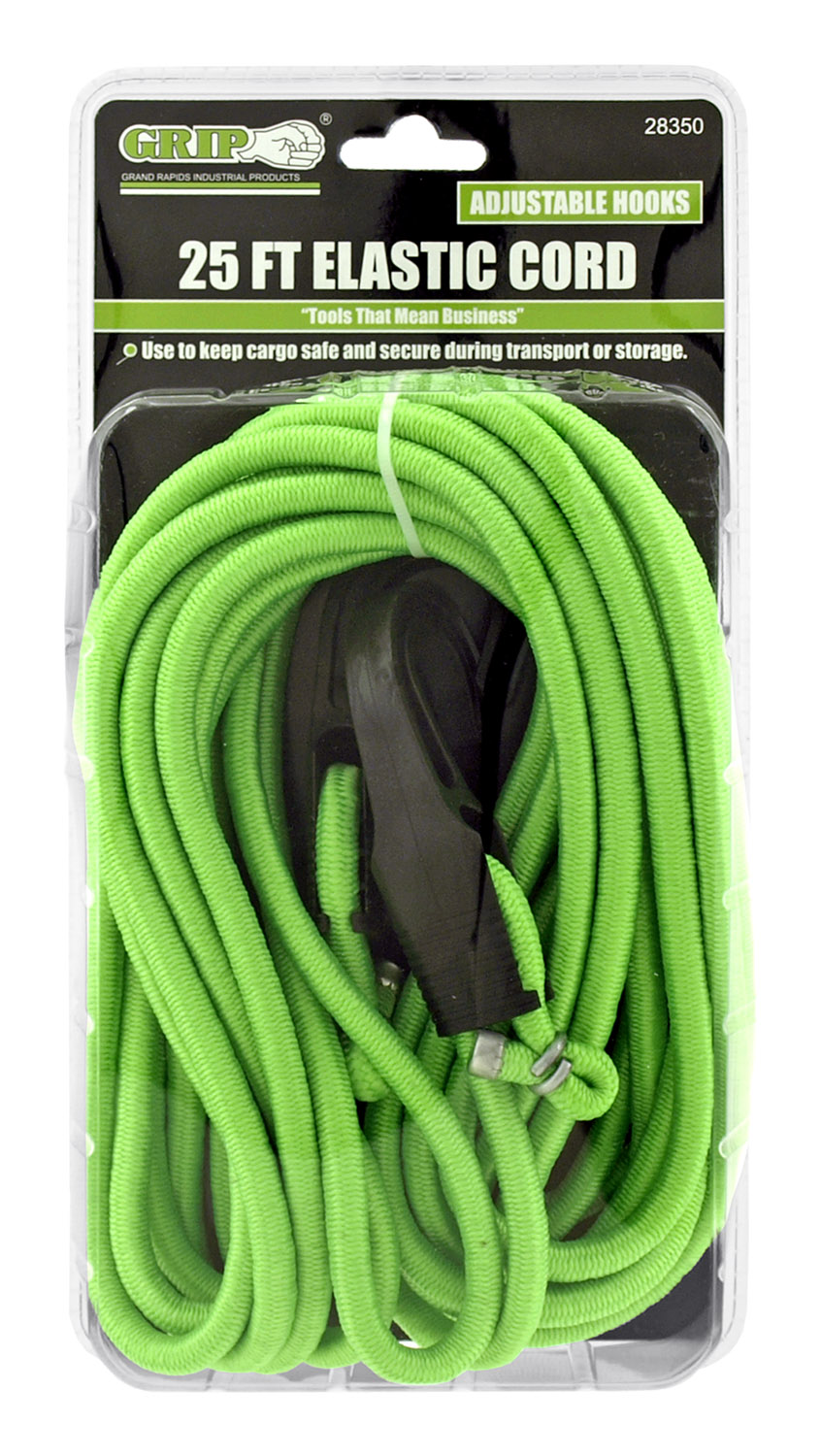 25' Elastic Bungee Cord with Adjustable Hooks - Comes in Assorted Colors