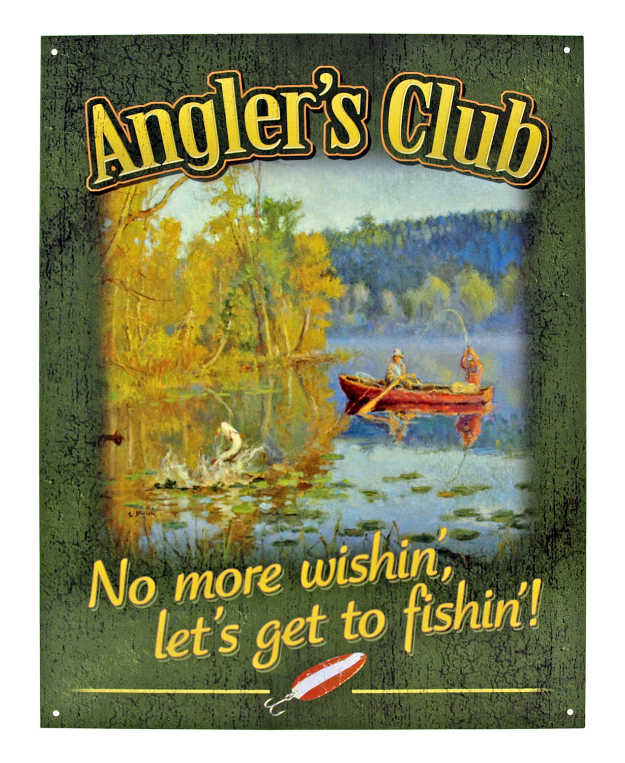 Angler's Club Fishing Metal Tin Sign