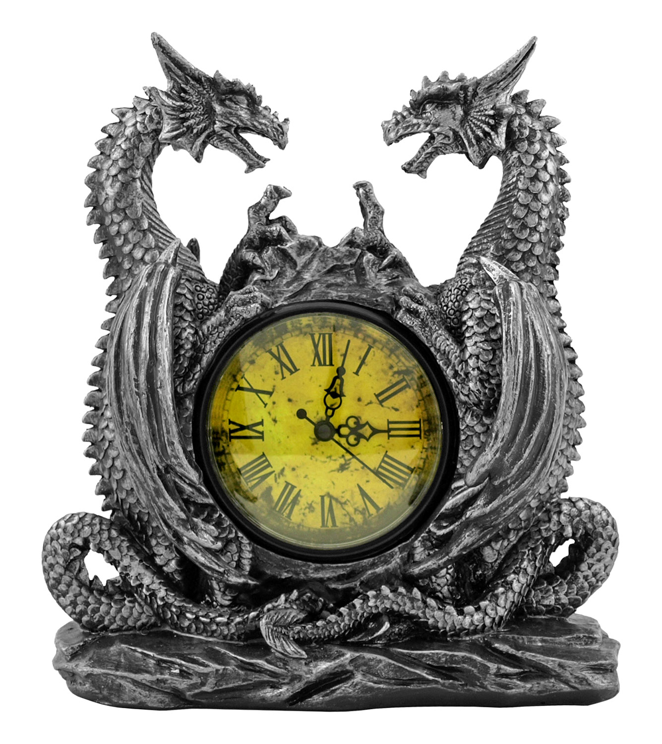 11 in Dragonstar Clock with Dual Dragon Figurines - DWK