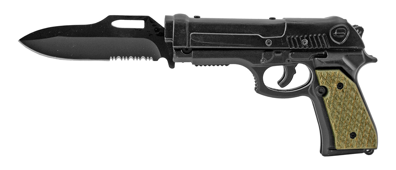 8.25 in Pistol Grip Gun Folding Pocket Knife with Functional Spring Assisted Blowback Slide - Black and Tan