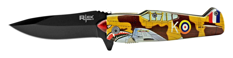 5 in RTek Flying P51 Mustang Bomber Folding Pocket Knife - Desert Shark