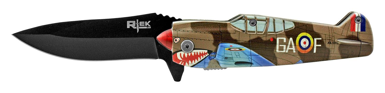 5 in RTek Flying P51 Mustang Bomber Folding Pocket Knife - Royal RAF Desert Shark