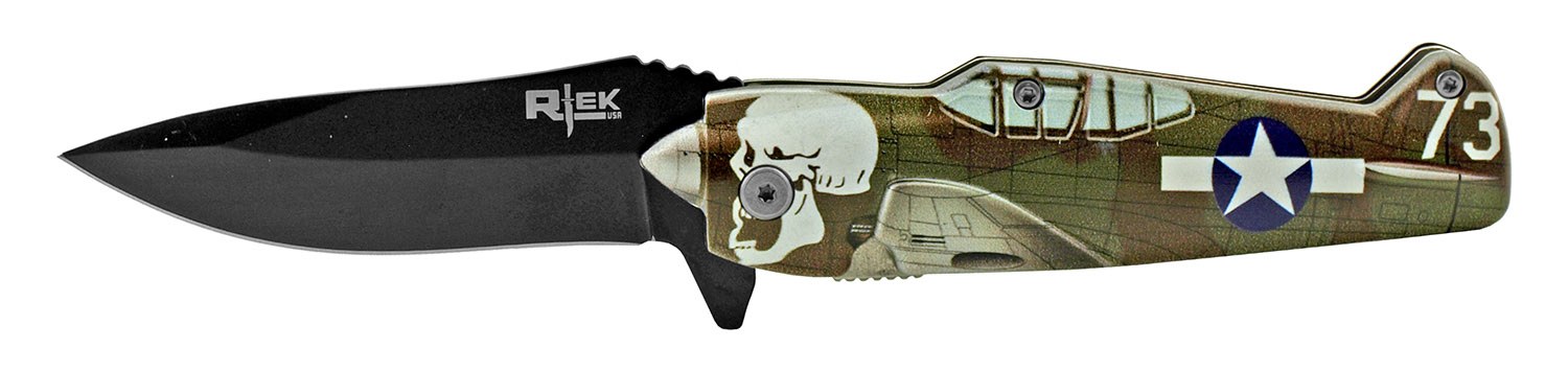 5 in RTek Flying P51 Mustang Bomber Folding Pocket Knife - Army Air Corp of Death